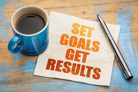 Set goals, get results - motivational word abstract on a napkin with a cup of espresso coffee