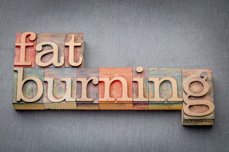 fat burning: fat burning word abstract in letterpress wood type against a gray slate rock Stock Photo