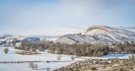 collins: WInter panorama of Pleasant Valley and Belvue Dome near Fort Collins in northern Colorado