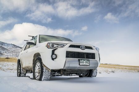 backcountry: FORT COLLINS, CO, USA - DECEMBER 7, 2016:  Toyota 4Runner SUV (2016 Trail edition)  visiting Lory State Park with a fresh snow. Editorial