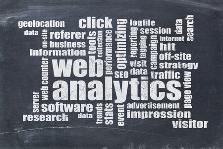 web analytics word cloud on a vintage blackboard - data analysis concept Фото со стока