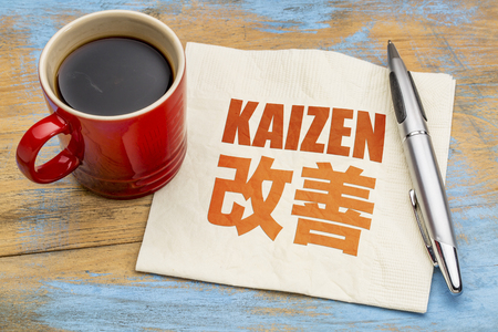 continuous: Kaizen - Japanese continuous improvement concept - word abstract on a napkin with a cup of coffee