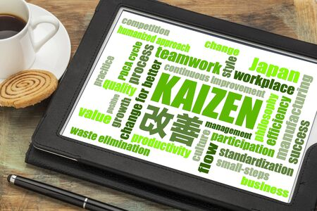 Kaizen - Japanese continuous improvement concept - word cloud  on a digital tablet with a cup of coffee Stock Photo