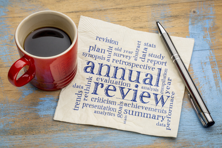 review: annual review word cloud - handwriting on a napkin with a cup of coffee