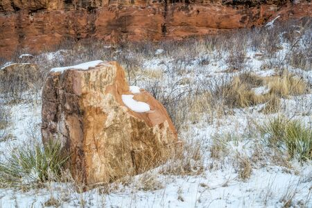 sandstone rock and cliff in winter scenery - Lory State Park, Colorado