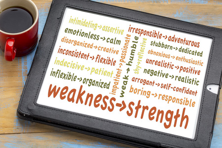 turn your weaknesses into strengths concept - word cloud of weakness-strength pairs on a digital tablet with coffee