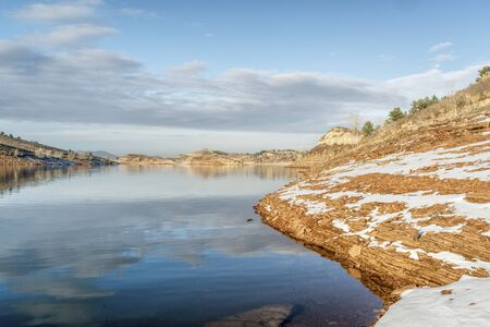 horsetooth reservoir: lake in winter scenery at Colorado foothills - Horsetooth Reservoir near Fort Collins