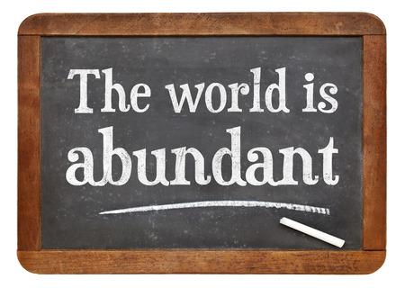 The world is abundant - white chalk text on a vintage slate blackboard