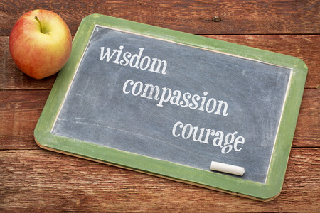 universally: wisdom, compassion and courage - universally recognized moral qualities according to Confucius - text on a blackboard