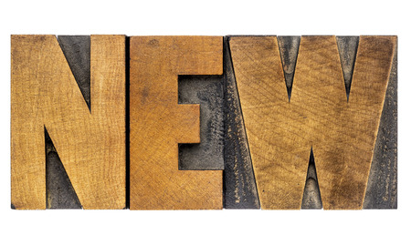 new - isolated word abstract in vintage letterpress wood type blocks