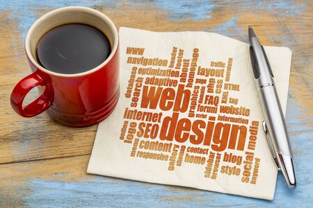 web and website design concept - a word cloud on a  napkin with a cup of espresso coffee