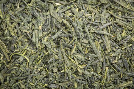 sencha: background texture of loose leaf Sencha Saga  green tea Stock Photo