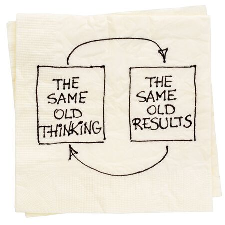 negative: the same old thinking and disappointing results, closed loop or negative feedback mindset concept  - a napkin doodle Stock Photo
