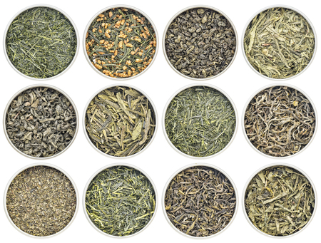gunpowder tea: green tea sampler - (clockwise from top left:  Kabusecha, genmaicha , gunpowder, pan fired, young hyson, Dragonwell, Sencha Saga, Yunnan Mao Feng , fanning, Iccha Kariban, Tindharia estate, sencha, )