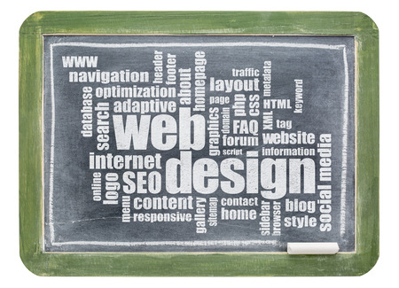 word cloud: web design word cloud - white chalk text on a vintage slate blackboard isolated with a clipping path