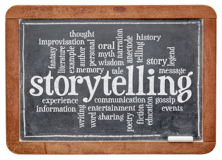 narration: storytelling word cloud on an old slate blackboard isolated with a clipping path Stock Photo