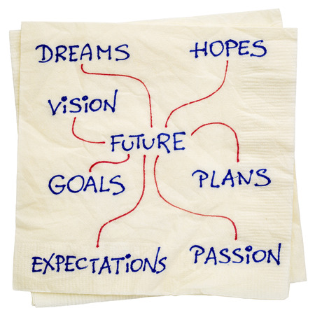 dreams, plans, hopes, goals, vision shaping the future - a napkin doodle isolated with a clipping path Фото со стока