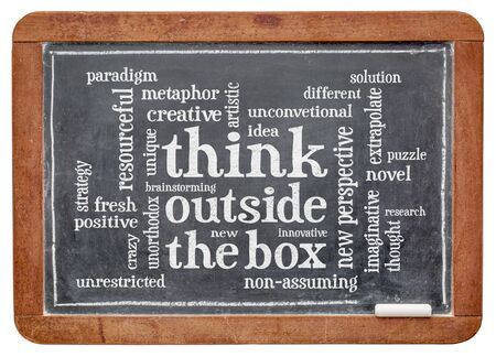 unorthodox: Think outside the box word cloud - word abstract on a slate blackboard with white chalk Stock Photo