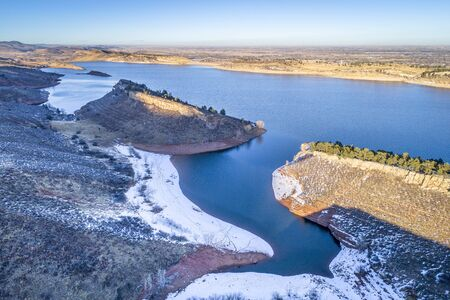 horsetooth reservoir: aerial view of Horsetooth Reservoir at foothills of Rocky Mountain bear Fort Collins, Colorado, winter scenery