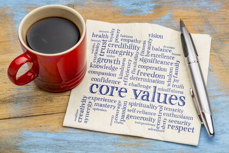 respecting: word cloud of possible core values on a napkin with a cup of coffee