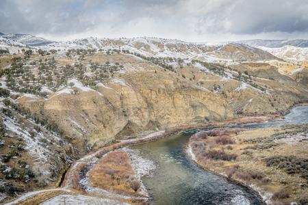 a valley of upper Colorado RIver above Dotsero, Colorado,  winter scenery
