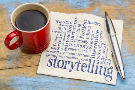 narration: storytelling word cloud - handwriting on a napkin with a cup of coffee