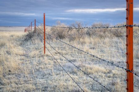 pawnee grassland: Barbed wire fence in Pawnee National Grassland at winter dusk Stock Photo
