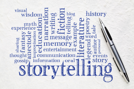 story and storytelling word cloud - handwriting on white lokta paper with a pen