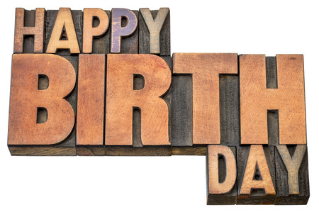 letterpress type: Happy Birthday greeting card - word abstract in vintage letterpress wood type blocks isolated on white