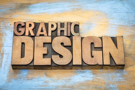 letterpress type: graphic design typography - word abstract in vintage letterpress wood type  against grunge wooden background Stock Photo