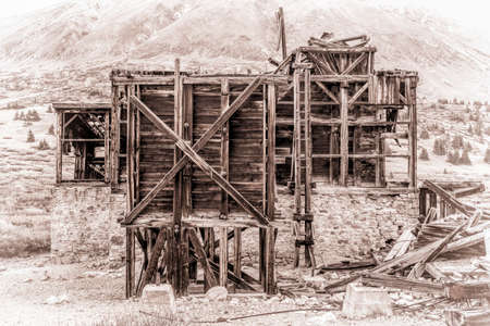 ruins of gold mine  (processing mill) near Mosquito Pass in Rocky Mountains, Colorado, retro opalotype processing