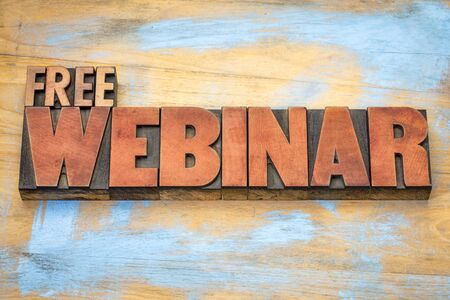 free webinar banner  -  internet communication concept - a word abstract  in letterpress wood type printing blocks stained by red ink against grunge wooden background