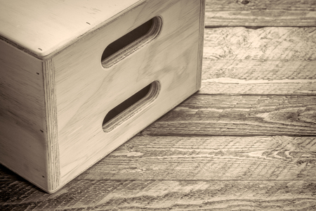 fil: apple box - film set equipment, abstract in black and white with retro platinum toning Stock Photo