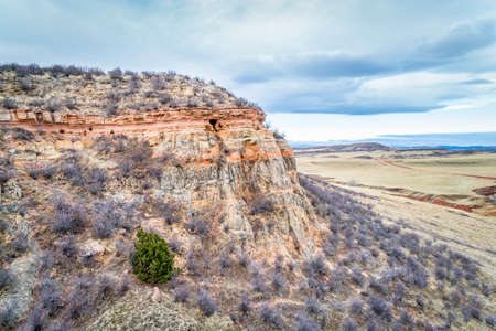 rocky mountain juniper: aerial view of northern Colorado foothills with a sandstone cliff and valley
