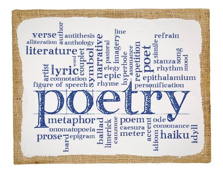 anecdote: poetry word cloud - handwriting on a stretched and primed burlap art canvas