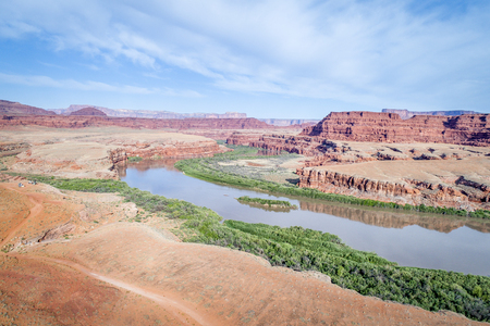 aerial view of the canyon of Colorado River near Moab, Utah