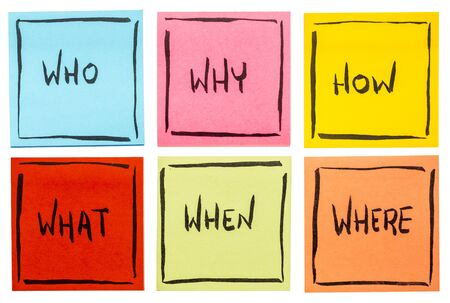 unanswered: who,  why, how,  what, when and where questions - uncertainty, brainstorming or decision making concept,  a set of isolated colorful sticky notes Stock Photo