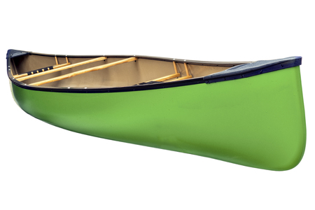 diagonal: green tandem canoe with wood seats isolated on white with a clipping path Stock Photo