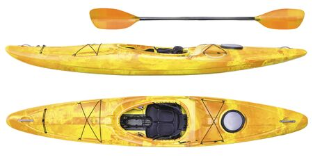 side and top view of crossover kayak (whitewater and river running kayak) and paddle isolated on white Фото со стока
