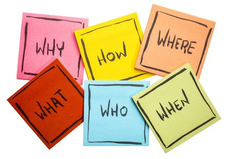 unanswered: why, how,  what, when, who,  and where questions - uncertainty, brainstorming or decision making concept,  a set of isolated colorful sticky notes