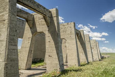 nebraska: concrete ruins of one of five reduction plants and pump stations manufacturing potash during World War I near Antioch, Nebraska Stock Photo