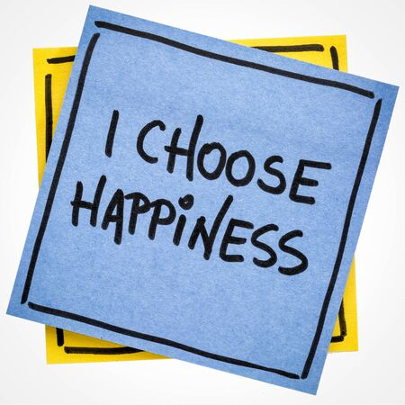 I choose happiness positive affirmation - handwriting on an isolated sticky note Stock fotó