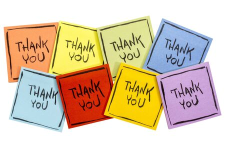 thank you abstract - handwriting on a set of colorful sticky notes