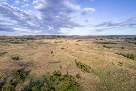 aerial view of Nebraska Sandhills near Seneca, spring scenery with morning light