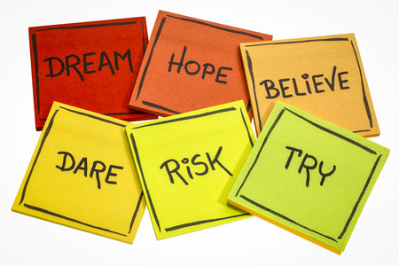 dream, hope, believe, dare, risk, try - motivational concept - a set of isolated sticky notes with handwriting Stock Photo - 80016390