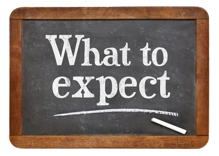 What to expect - white chalk text on a vintage slate blackboard Stok Fotoğraf - 80432746