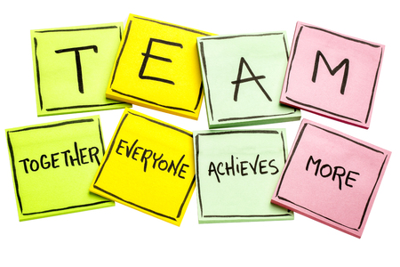 TEAM acronym (together everyone achieves more), teamwork motivation concept, handwriting on a colorful sticky notes isolated on white 스톡 콘텐츠