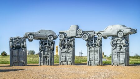 ALLIANCE, NE, USA - MAY 29, 2017:  Carhenge - famous car sculpture  created by Jim Reinders, a modern replica of  Englands Stonehenge using old cars.