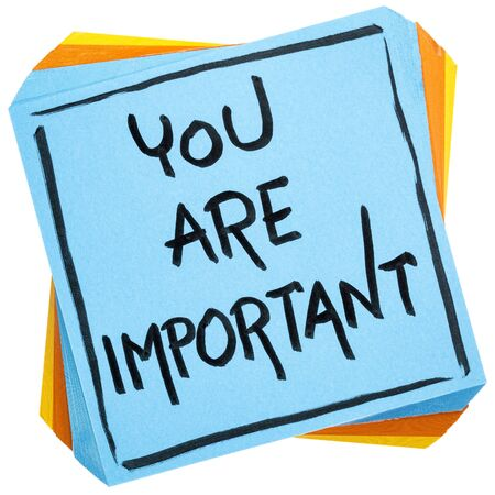 You are important reminder - self assurance or positive confirmation concept - handwriting on an isolated sticky note