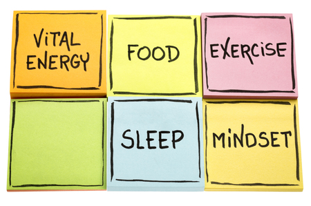 vital energy concept - food, exercise, mindset and sleep handwritten in black ink on colorful sticky notes isolated on white Stock Photo